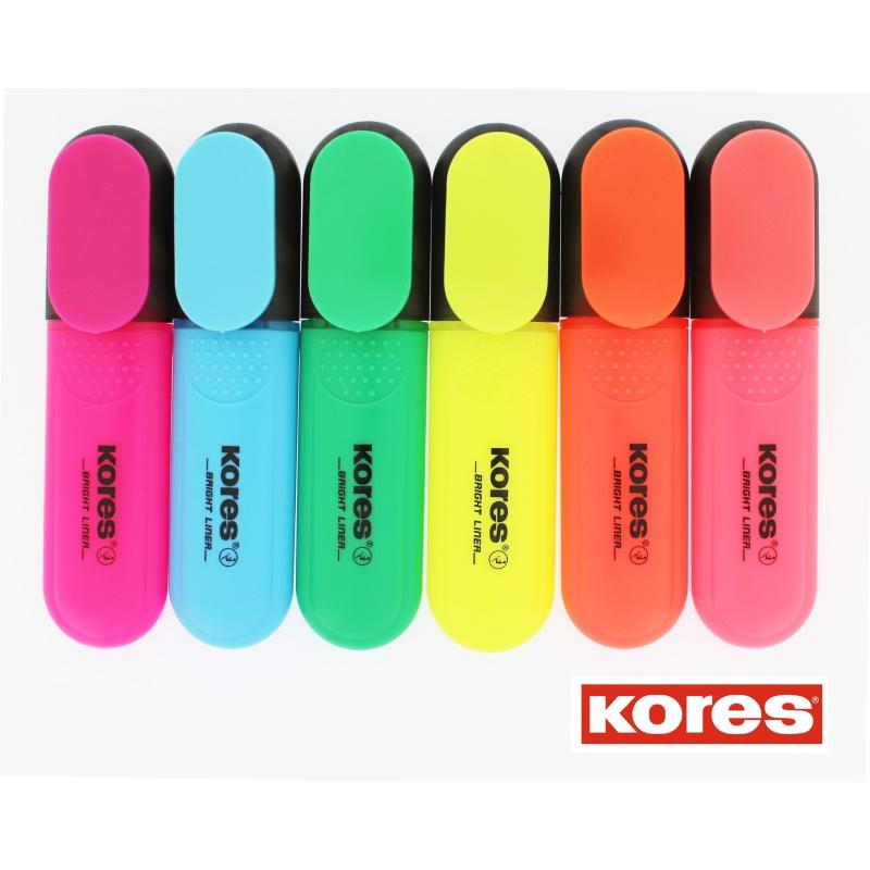 טוש הדגשה זוהר KORES במגוון צבעים מרהיבים