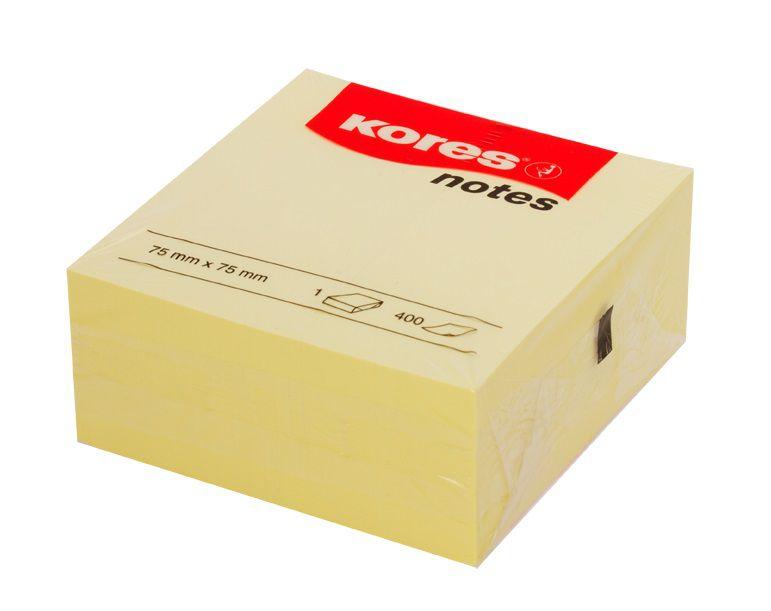 קוביית פתקיות ממו דביקות צהובות 75*75 KORES