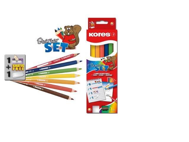 עפרונות צבעוניים ג'מבו+מחדד+מחק - סט 7 צבעים KORES