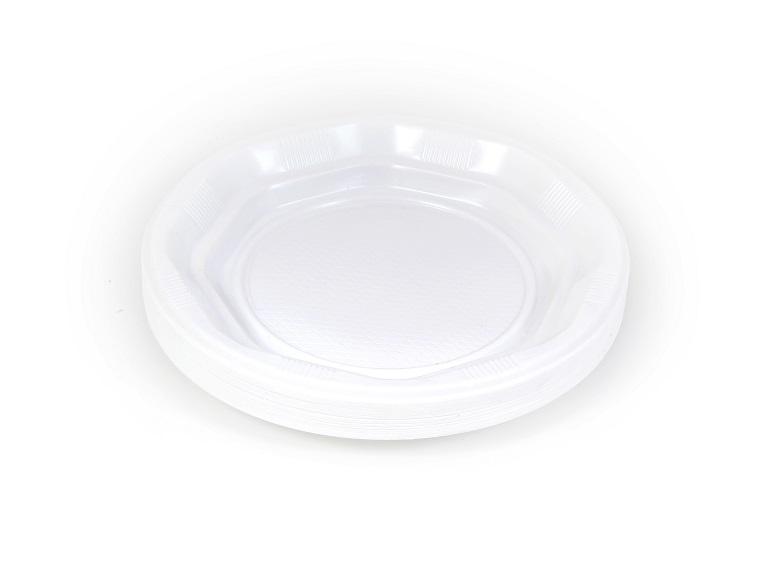 צלחות חד פעמיות לבנות קטנות, גודל 7, 50 יח'