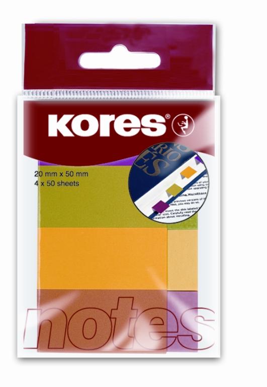 דגלוני סימון 20*50 ניאון 4 צבעים 50 דף KORES