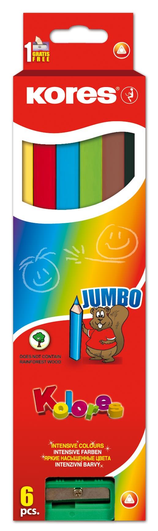 עפרון צבעוניים ג'מבו 5 ממ+מחדד סט 6 צבעים KORES