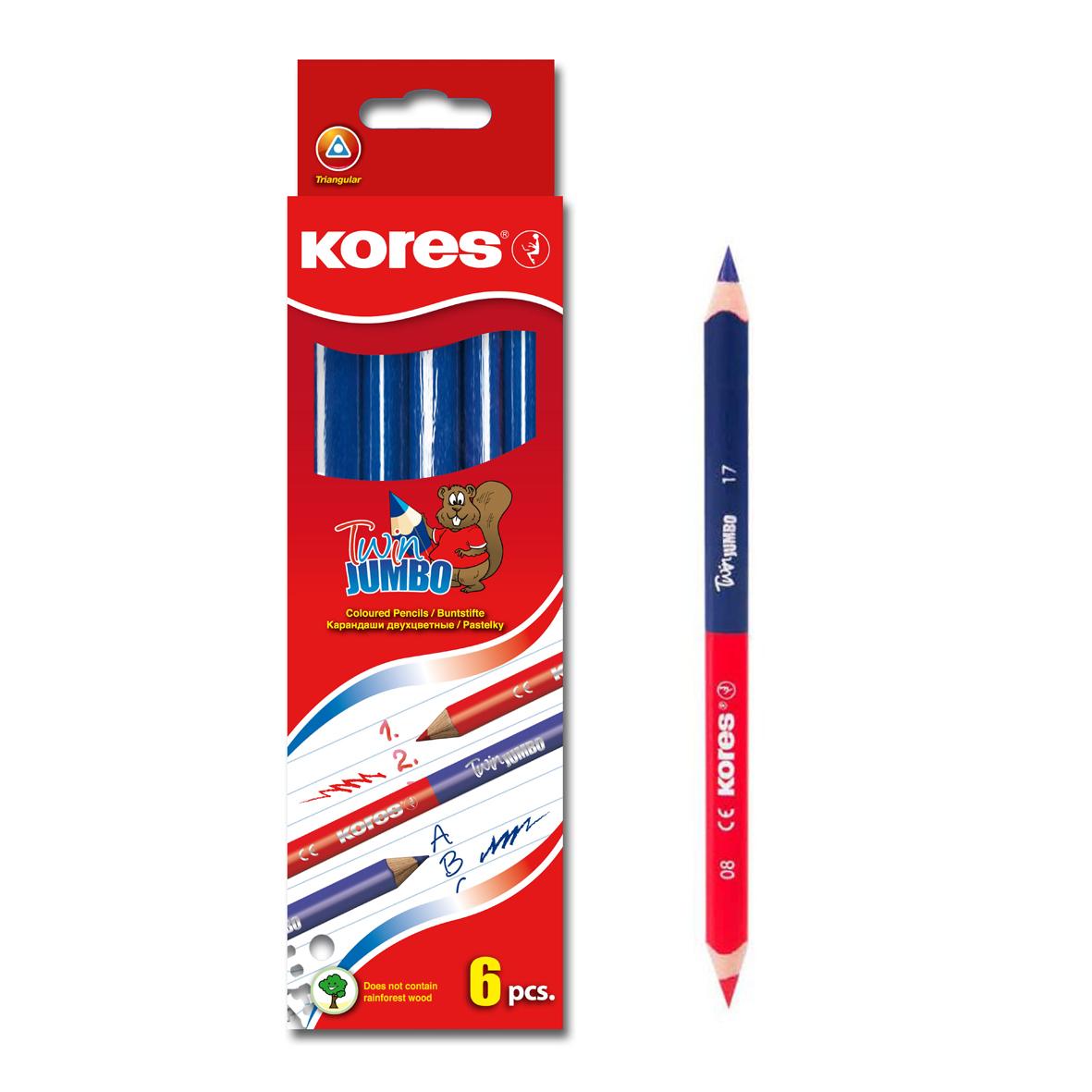 עפרון ג'מבו משולש, דו צבעי KORES סט 6 יחידות בקופסא