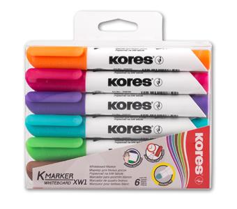 טושים צבעונים ללוח מחיק - ראש עגול - סט 6 צבעים KORES