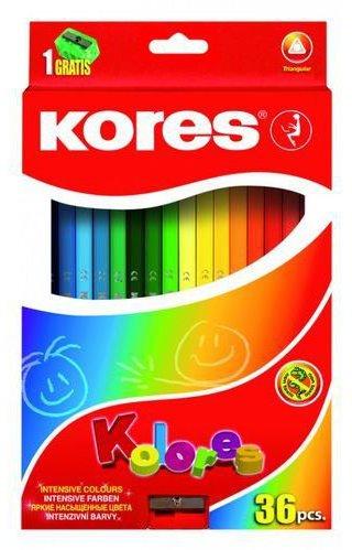 עפרונות צבעוניים -סט 36 עפרונות צבעוניים+מחדד KORES