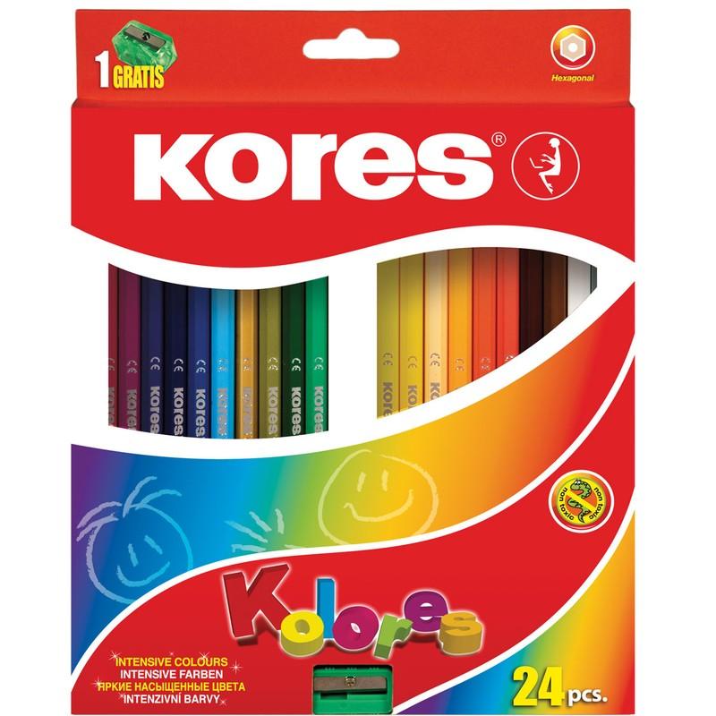 סט עפרונות צבעוניים - משושה +מחדד   KORES
