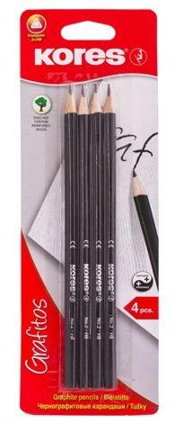 עפרון HB משולש  4 יח' במארז KORES