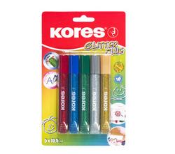 דבק נוזלי שקוף עם נצנצים, מארז 5 צבעים 15מ'ל KORES