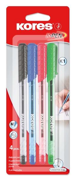 עט כדורי 0.7  4 צבעים K1 סט KORES
