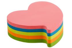 פתקיות ממו נדבקות בצורת לב ניאון- 5 צבעי נאון - 250 דף KORES
