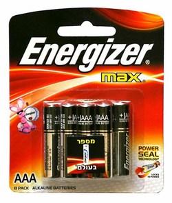 8 סוללות אלקליין Energizer AAA אנרג׳ייזר