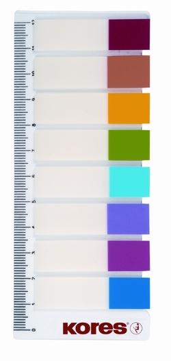 פתקיות - דגלוני סימון 12*45 - 15 יח' סרגל 8 צבעים KORES