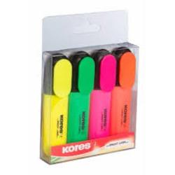 מרקרים - מארז טושים להדגשה- סט 4 צבעים KORES