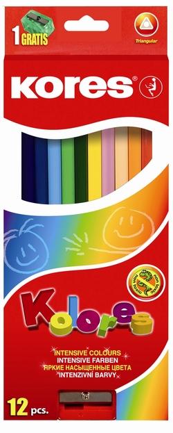 סט עפרונות צבעוניים - משולש +מחדד   KORES