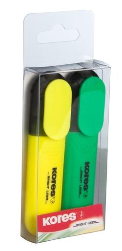 מרקרים - טושים זוהרים - סט בצבע צהוב +ירוק KORES