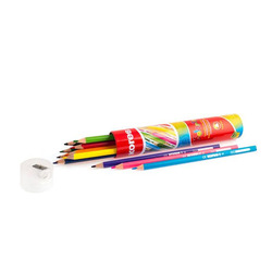 עפרונות צבעוניים + מחדד בקלמר 12 יח' KORES