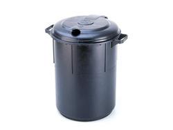 פח אשפה | זבל שחור מפלסטיק עם מכסה 60 ליטר