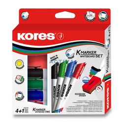 טושים מחיקים - סט טושים ללוח מחיק 4 צבעים + מחק KORES