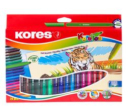 טושים צבעוניים - 20 צבעי לבד עבה KORES