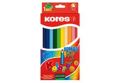 עפרונות צבעוניים ג'מבו+מחדד 12 צבעים KORES