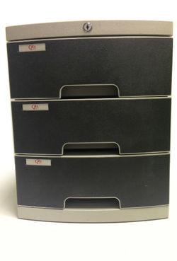 מגירות לשולחן - ארגז 3 מגירות שחור עם נעילה