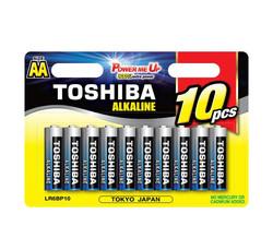 10 סוללות AA לא נטענות Toshiba Alkaline בבליסטר