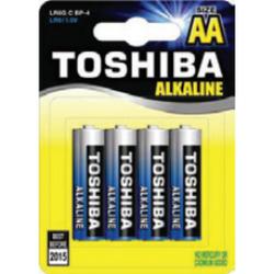4 סוללות AA לא נטענות Toshiba Alkaline בבליסטר