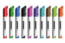 טושים צבעונים ללוח מחיק - ראש עגול - סט 10 צבעים KORES