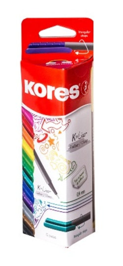 סט עטי לבד 12 צבעים 0.4 מ'מ KORES