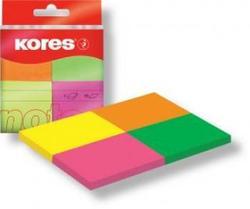 פתקיות 4 צבעי נאון 50דף 40*50 מ'מ KORES