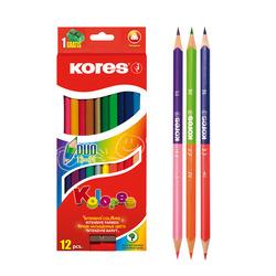 עפרון דו צבעי משולש+מחדד  KORES