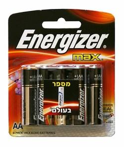 8 סוללות אלקליין Energizer AA אנרג׳ייזר