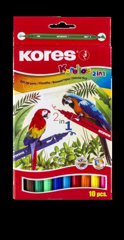 טושים צבעוניים - דו צדדי 10 יח' KORES