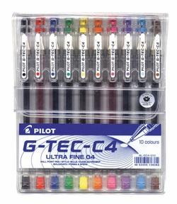 סט 10 עטי ג'ל פיילוט 0.4 G-TEC-C4